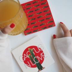 Bardak Altlığı - Hipster Series Coasters - ICONS: Cactus in Love Pattern