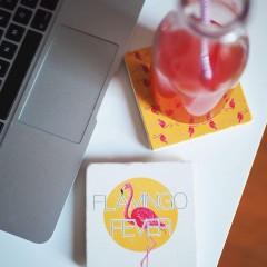 Bardak Altlığı - Hipster Series Coasters - ICONS: Flamingo Fever Pattern