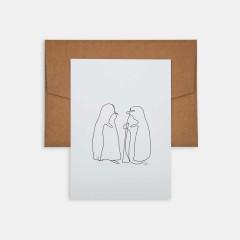 Mini Poster - Line Drawings 13x18 - Penguins