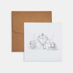 Mini Poster - Line Drawings 15x15 - Coffee