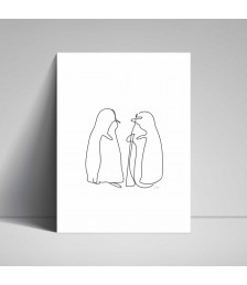 Poster - Line Drawings 30x40 - Penguins