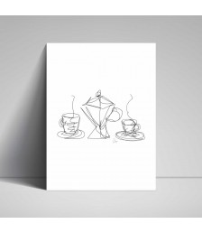 Poster - Line Drawings 30x40 - Coffee